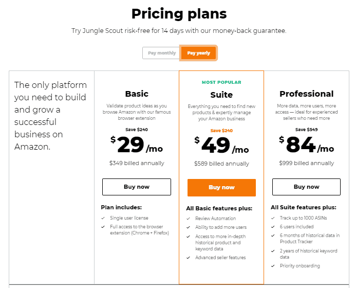 Jungle Scout Yearly Pricing Plans